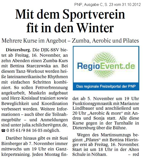 Mit dem Sportverein fit in den Winter (Zeitungsartikel)