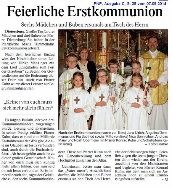 Dietersburg Feierliche Erstkommunion Gemeinde Dietersburg