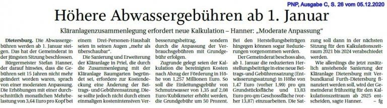 Bericht Gemeinderatssitzung November 2020