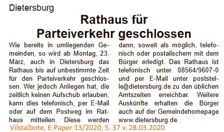 Grossansicht in neuem Fenster: Rathaus geschlossen