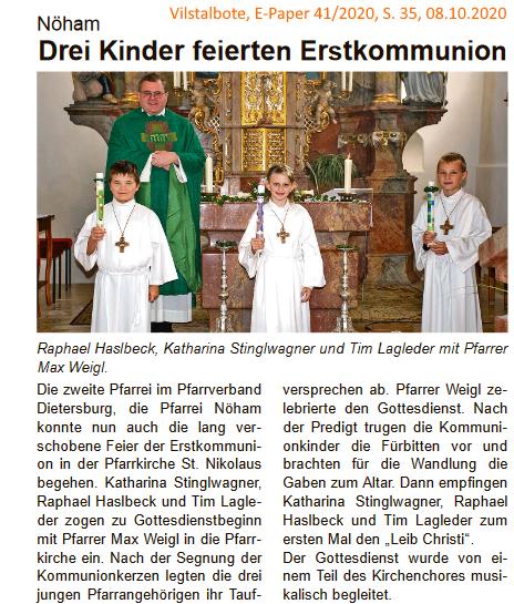 Grossansicht in neuem Fenster: Erstkommunion